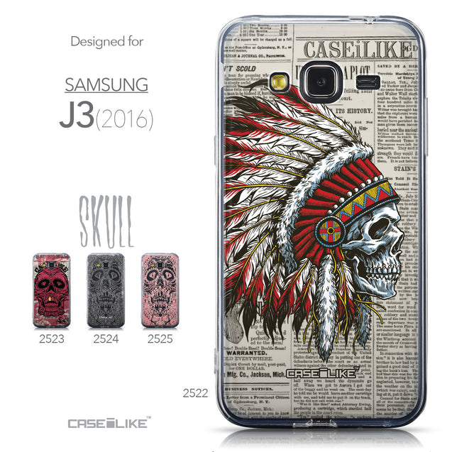 Collection - CASEiLIKE Samsung Galaxy J3 (2016) back cover Art of Skull 2522