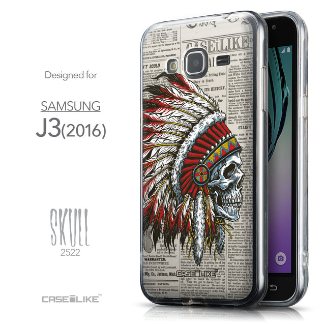 Front & Side View - CASEiLIKE Samsung Galaxy J3 (2016) back cover Art of Skull 2522