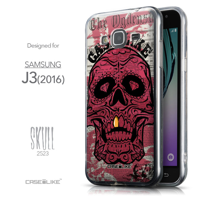 Front & Side View - CASEiLIKE Samsung Galaxy J3 (2016) back cover Art of Skull 2523