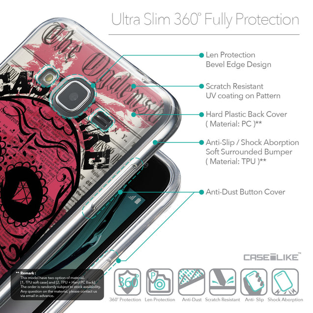 Details in English - CASEiLIKE Samsung Galaxy J3 (2016) back cover Art of Skull 2523