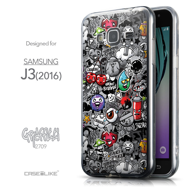 Front & Side View - CASEiLIKE Samsung Galaxy J3 (2016) back cover Graffiti 2709