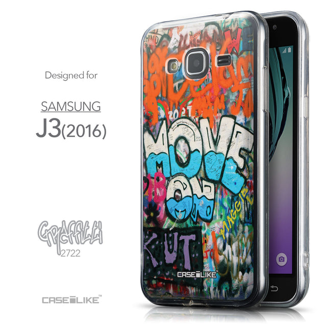 Front & Side View - CASEiLIKE Samsung Galaxy J3 (2016) back cover Graffiti 2722