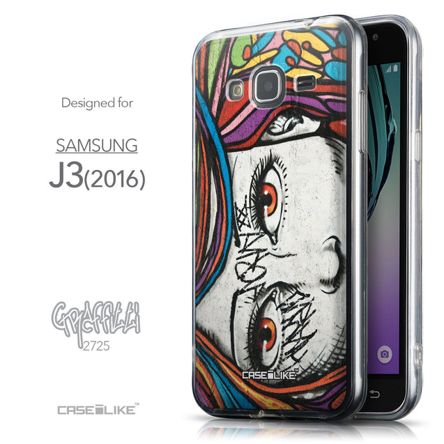 Front & Side View - CASEiLIKE Samsung Galaxy J3 (2016) back cover Graffiti Girl 2725