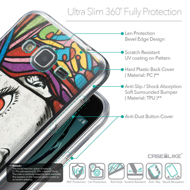 Details in English - CASEiLIKE Samsung Galaxy J3 (2016) back cover Graffiti Girl 2725