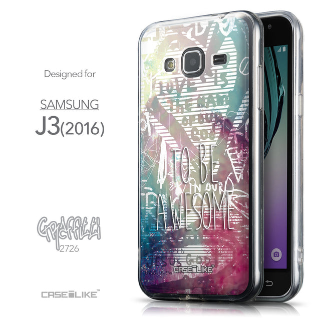 Front & Side View - CASEiLIKE Samsung Galaxy J3 (2016) back cover Graffiti 2726