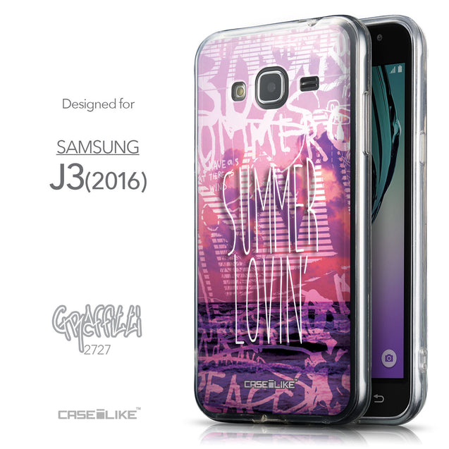 Front & Side View - CASEiLIKE Samsung Galaxy J3 (2016) back cover Graffiti 2727