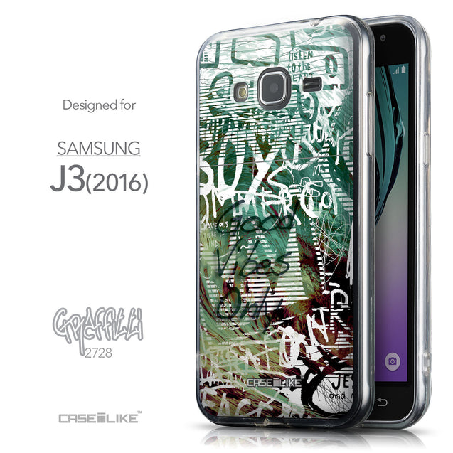 Front & Side View - CASEiLIKE Samsung Galaxy J3 (2016) back cover Graffiti 2728