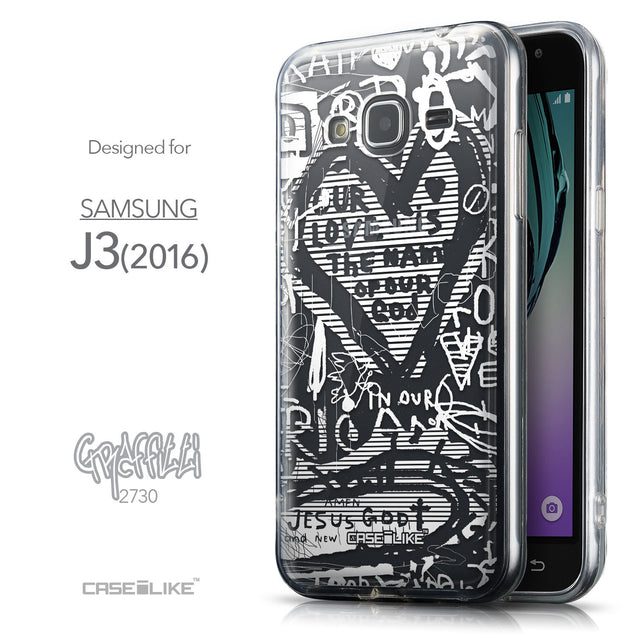 Front & Side View - CASEiLIKE Samsung Galaxy J3 (2016) back cover Graffiti 2730