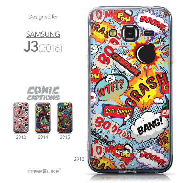 Collection - CASEiLIKE Samsung Galaxy J3 (2016) back cover Comic Captions Blue 2913