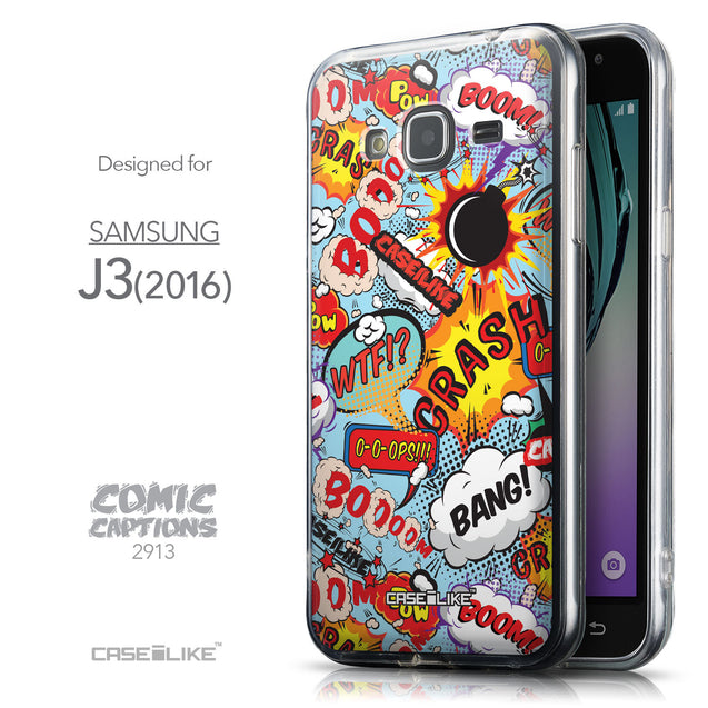 Front & Side View - CASEiLIKE Samsung Galaxy J3 (2016) back cover Comic Captions Blue 2913