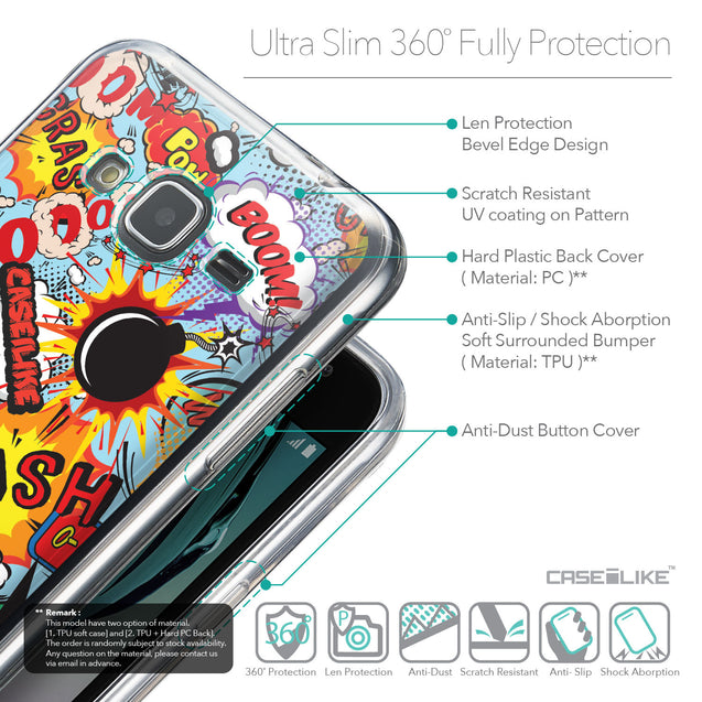 Details in English - CASEiLIKE Samsung Galaxy J3 (2016) back cover Comic Captions Blue 2913