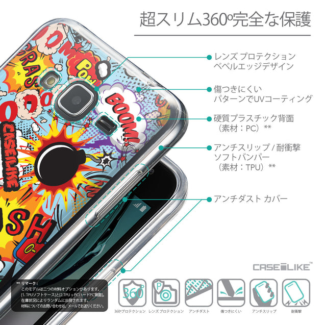 Details in Japanese - CASEiLIKE Samsung Galaxy J3 (2016) back cover Comic Captions Blue 2913