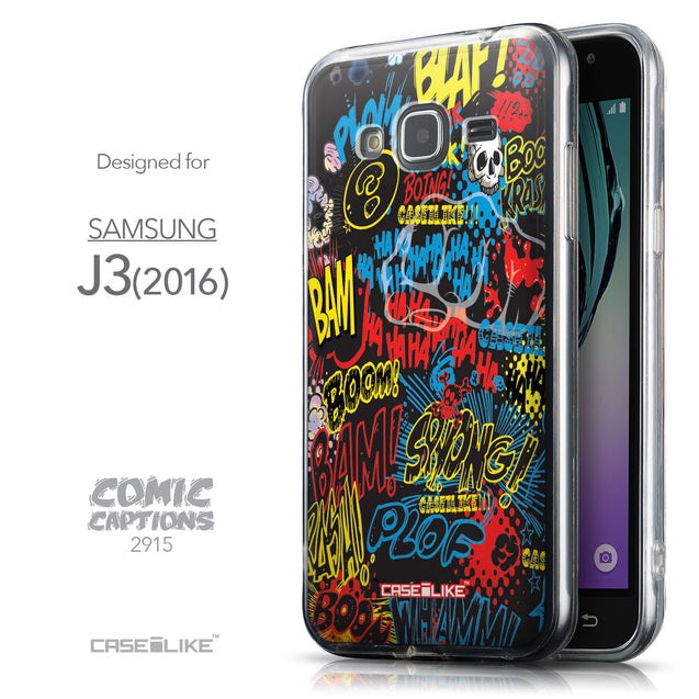 Front & Side View - CASEiLIKE Samsung Galaxy J3 (2016) back cover Comic Captions Black 2915