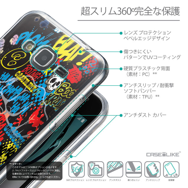 Details in Japanese - CASEiLIKE Samsung Galaxy J3 (2016) back cover Comic Captions Black 2915