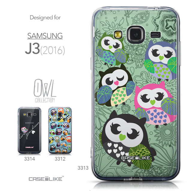Collection - CASEiLIKE Samsung Galaxy J3 (2016) back cover Owl Graphic Design 3313