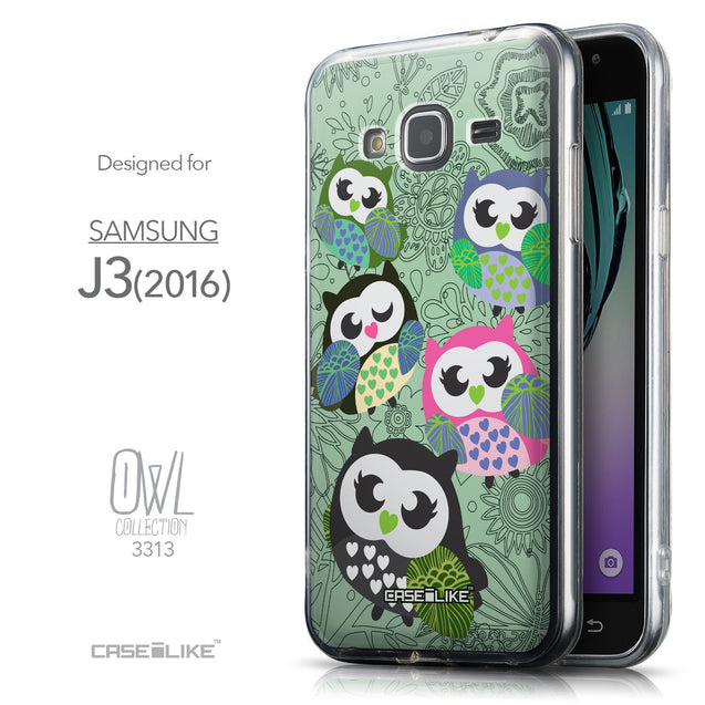 Front & Side View - CASEiLIKE Samsung Galaxy J3 (2016) back cover Owl Graphic Design 3313