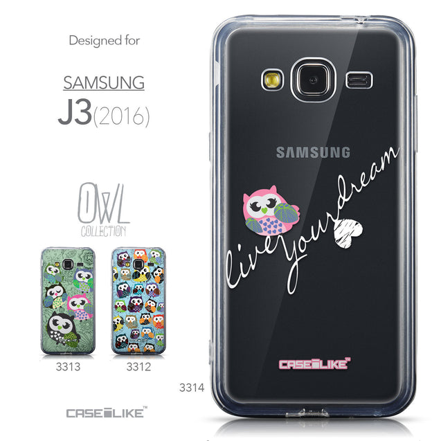 Collection - CASEiLIKE Samsung Galaxy J3 (2016) back cover Owl Graphic Design 3314