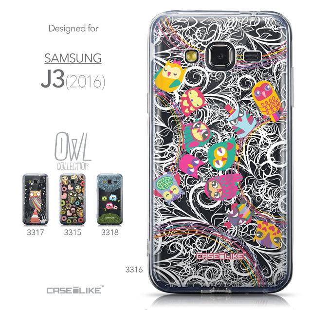 Collection - CASEiLIKE Samsung Galaxy J3 (2016) back cover Owl Graphic Design 3316
