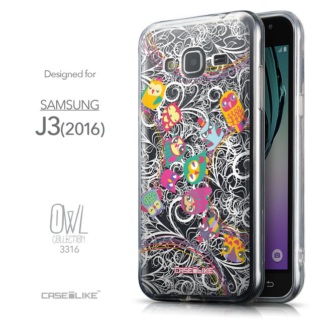 Front & Side View - CASEiLIKE Samsung Galaxy J3 (2016) back cover Owl Graphic Design 3316
