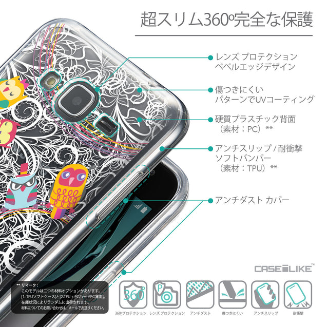 Details in Japanese - CASEiLIKE Samsung Galaxy J3 (2016) back cover Owl Graphic Design 3316
