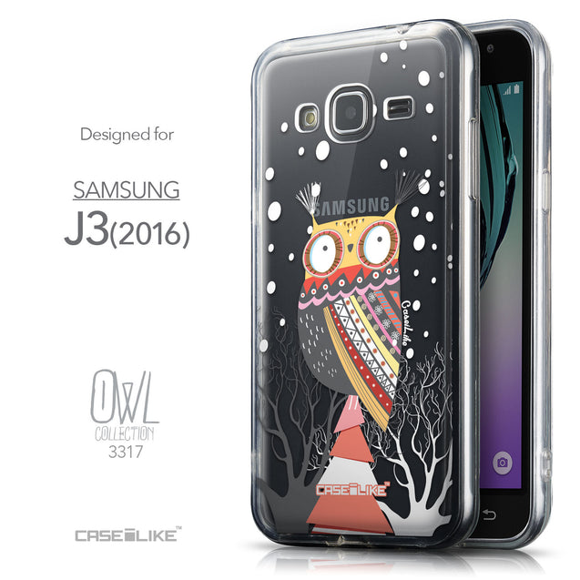 Front & Side View - CASEiLIKE Samsung Galaxy J3 (2016) back cover Owl Graphic Design 3317