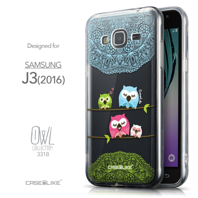 Front & Side View - CASEiLIKE Samsung Galaxy J3 (2016) back cover Owl Graphic Design 3318