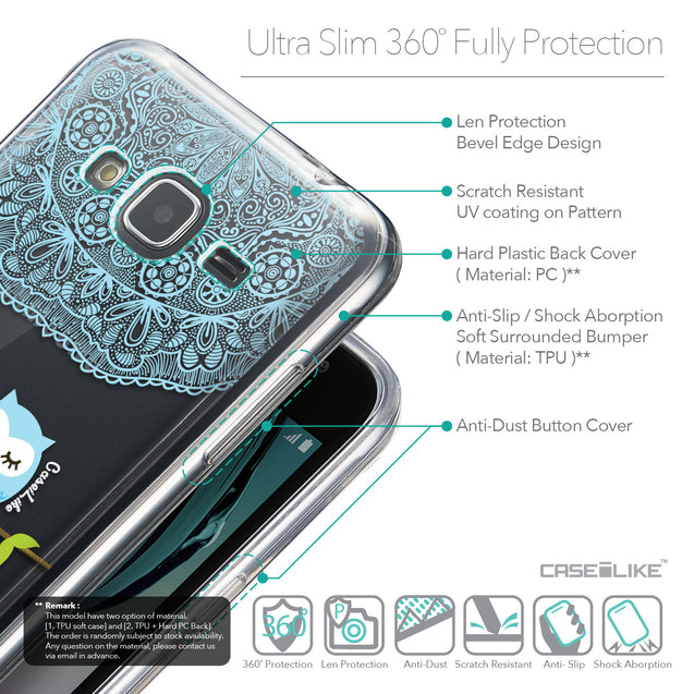 Details in English - CASEiLIKE Samsung Galaxy J3 (2016) back cover Owl Graphic Design 3318