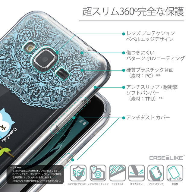 Details in Japanese - CASEiLIKE Samsung Galaxy J3 (2016) back cover Owl Graphic Design 3318
