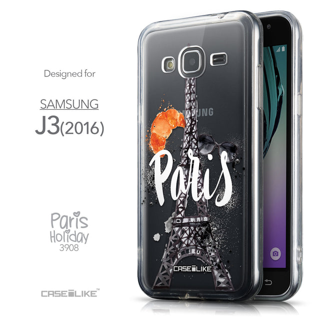 Front & Side View - CASEiLIKE Samsung Galaxy J3 (2016) back cover Paris Holiday 3908