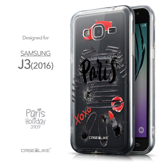 Front & Side View - CASEiLIKE Samsung Galaxy J3 (2016) back cover Paris Holiday 3909