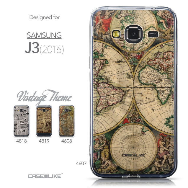 Collection - CASEiLIKE Samsung Galaxy J3 (2016) back cover World Map Vintage 4607