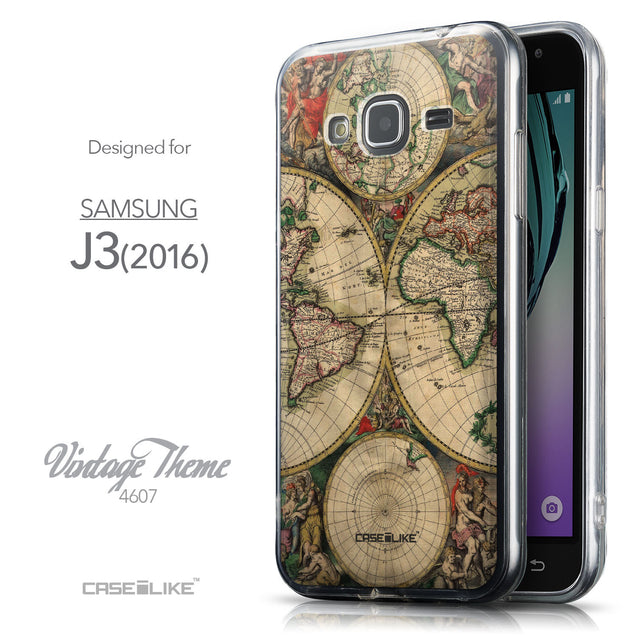Front & Side View - CASEiLIKE Samsung Galaxy J3 (2016) back cover World Map Vintage 4607