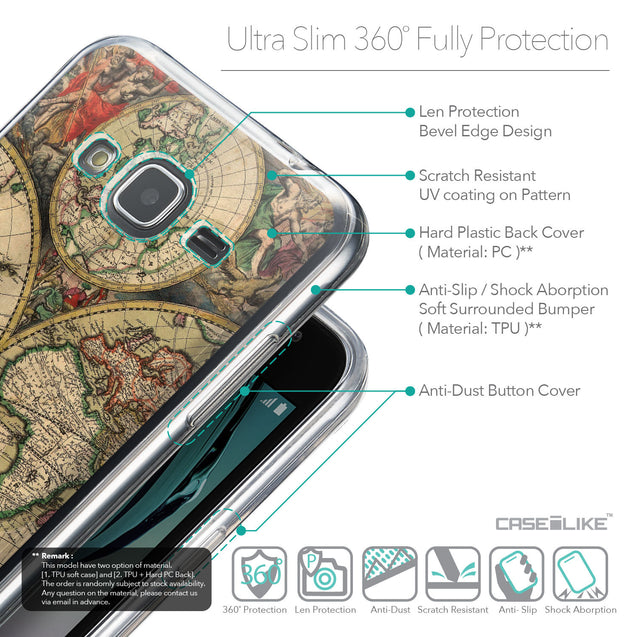 Details in English - CASEiLIKE Samsung Galaxy J3 (2016) back cover World Map Vintage 4607