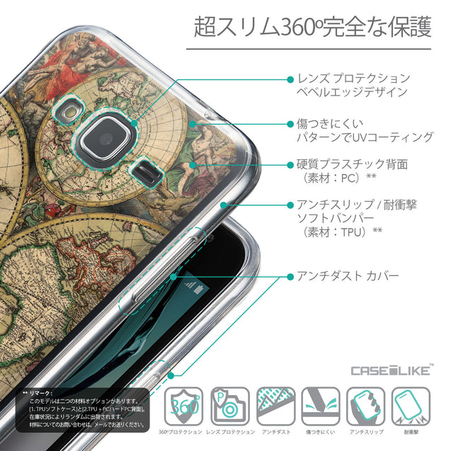 Details in Japanese - CASEiLIKE Samsung Galaxy J3 (2016) back cover World Map Vintage 4607