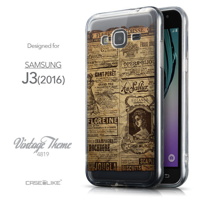Front & Side View - CASEiLIKE Samsung Galaxy J3 (2016) back cover Vintage Newspaper Advertising 4819