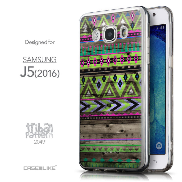 Front & Side View - CASEiLIKE Samsung Galaxy J5 (2016) back cover Indian Tribal Theme Pattern 2049