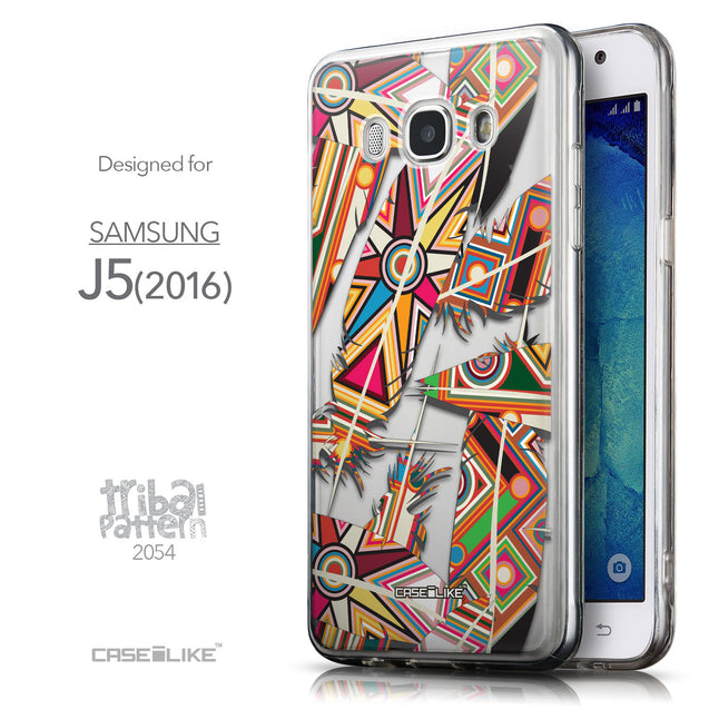 Front & Side View - CASEiLIKE Samsung Galaxy J5 (2016) back cover Indian Tribal Theme Pattern 2054