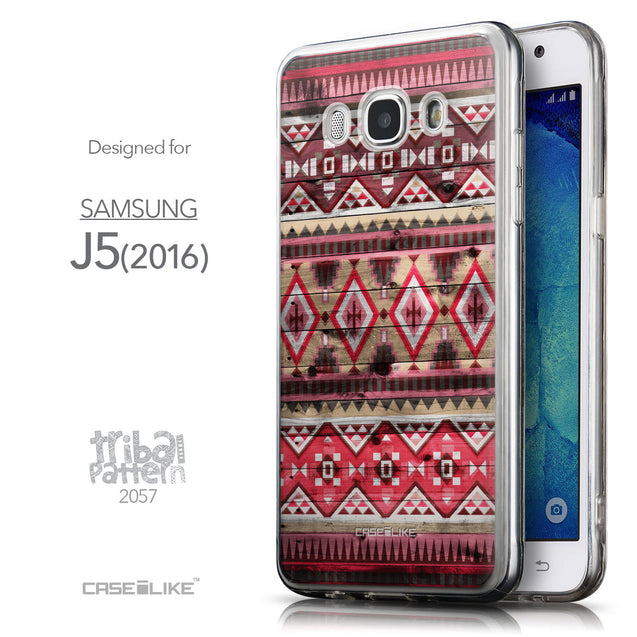 Front & Side View - CASEiLIKE Samsung Galaxy J5 (2016) back cover Indian Tribal Theme Pattern 2057