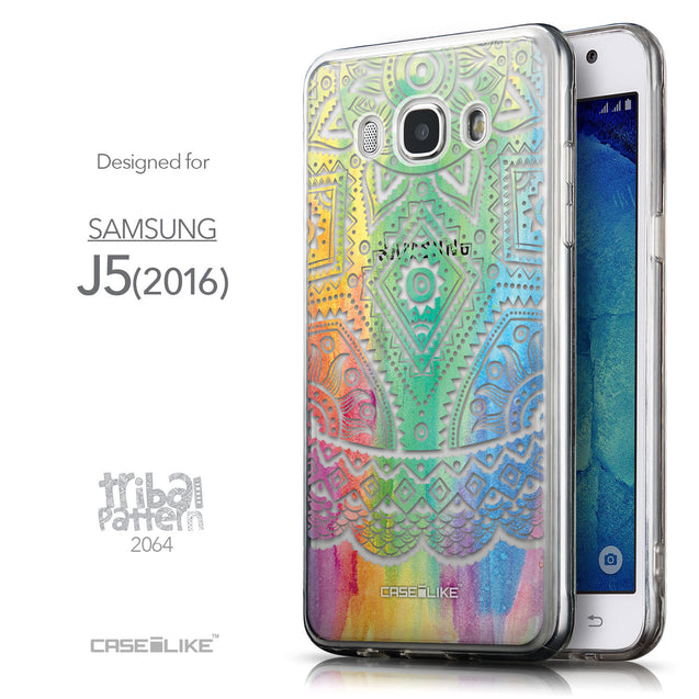 Front & Side View - CASEiLIKE Samsung Galaxy J5 (2016) back cover Indian Line Art 2064