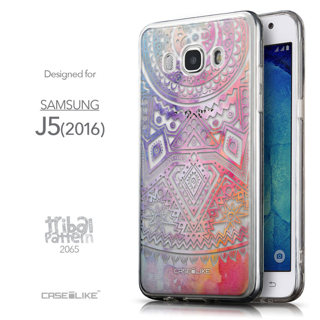 Front & Side View - CASEiLIKE Samsung Galaxy J5 (2016) back cover Indian Line Art 2065