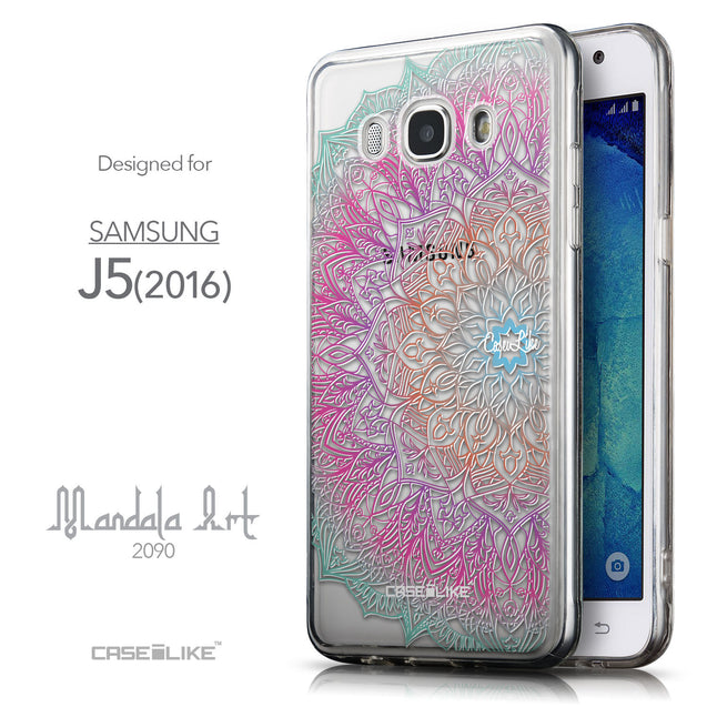 Front & Side View - CASEiLIKE Samsung Galaxy J5 (2016) back cover Mandala Art 2090