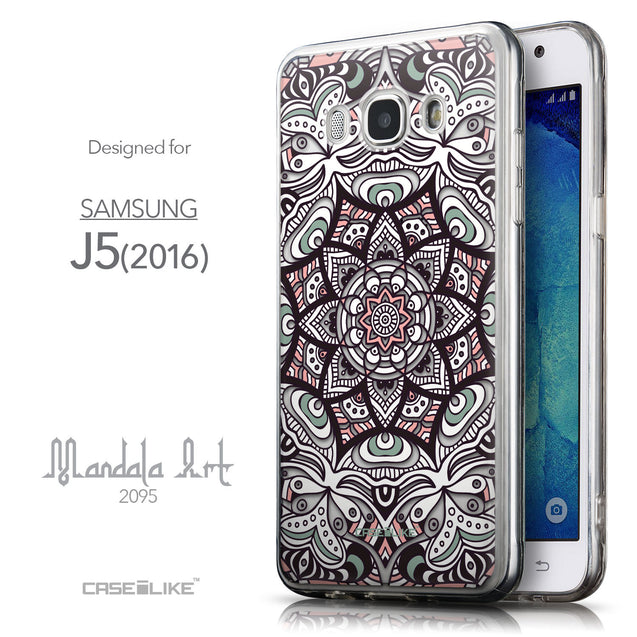 Front & Side View - CASEiLIKE Samsung Galaxy J5 (2016) back cover Mandala Art 2095