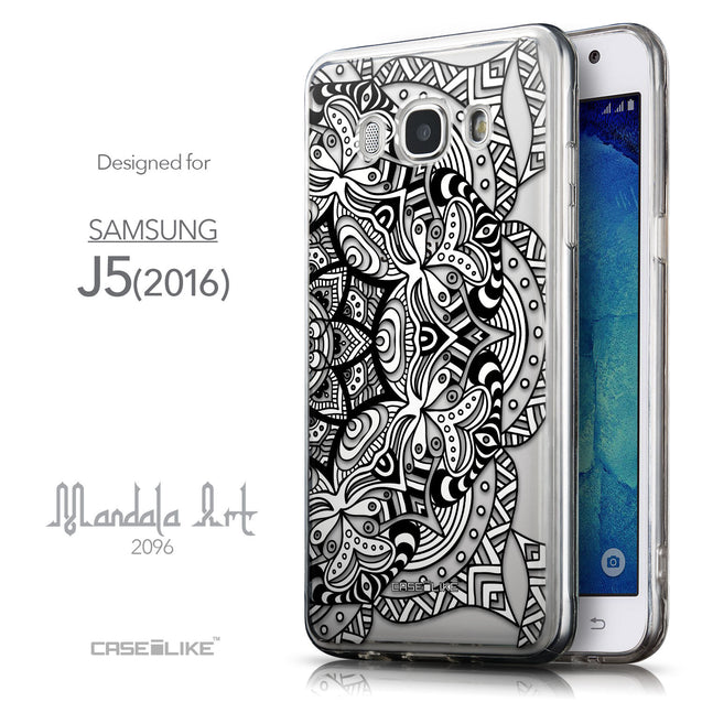 Front & Side View - CASEiLIKE Samsung Galaxy J5 (2016) back cover Mandala Art 2096