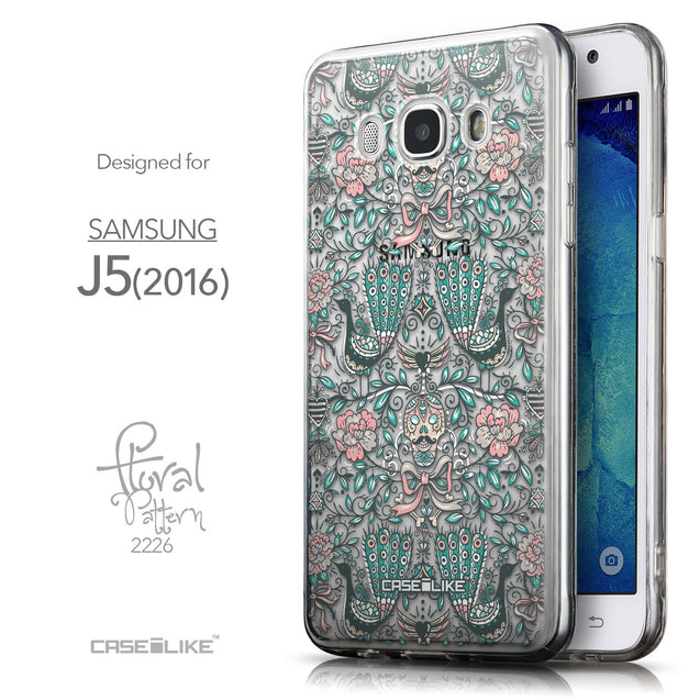 Front & Side View - CASEiLIKE Samsung Galaxy J5 (2016) back cover Roses Ornamental Skulls Peacocks 2226