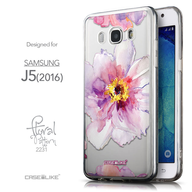 Front & Side View - CASEiLIKE Samsung Galaxy J5 (2016) back cover Watercolor Floral 2231