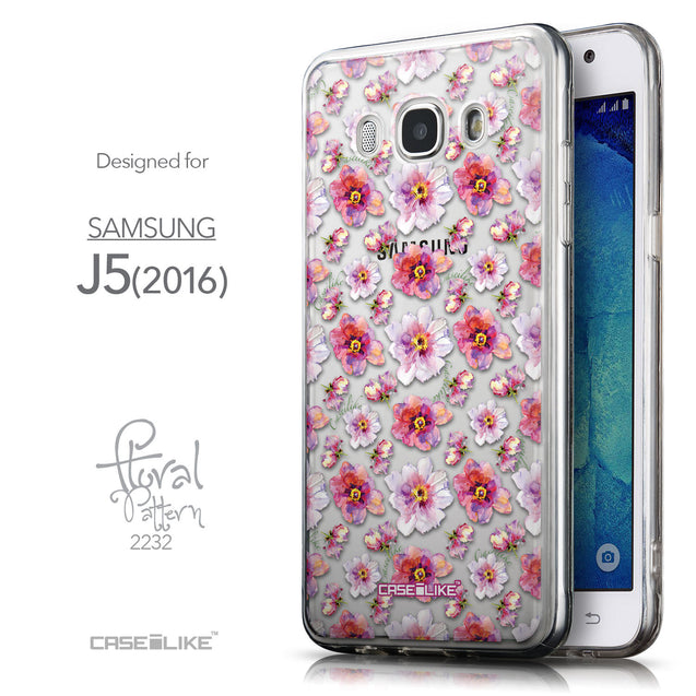 Front & Side View - CASEiLIKE Samsung Galaxy J5 (2016) back cover Watercolor Floral 2232