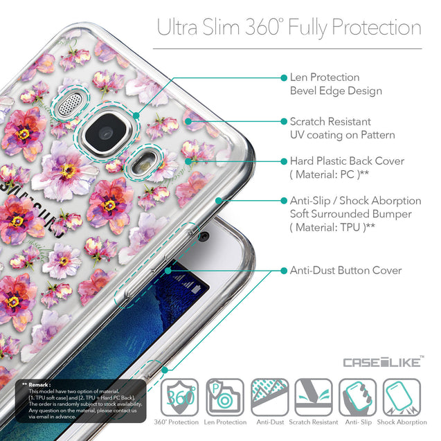 Details in English - CASEiLIKE Samsung Galaxy J5 (2016) back cover Watercolor Floral 2232