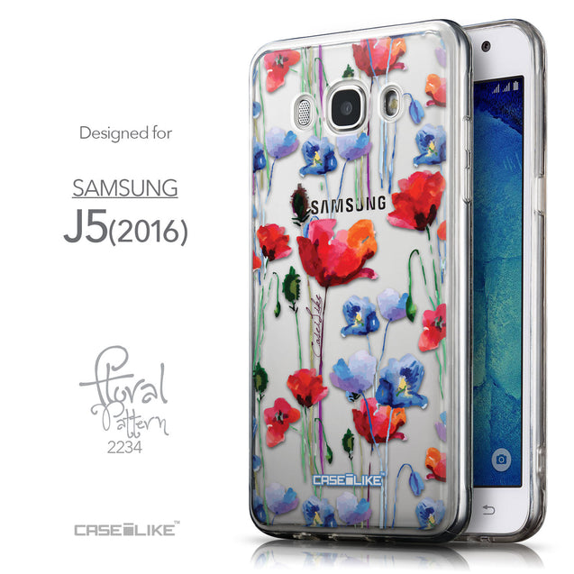 Front & Side View - CASEiLIKE Samsung Galaxy J5 (2016) back cover Indian Line Art 2061
