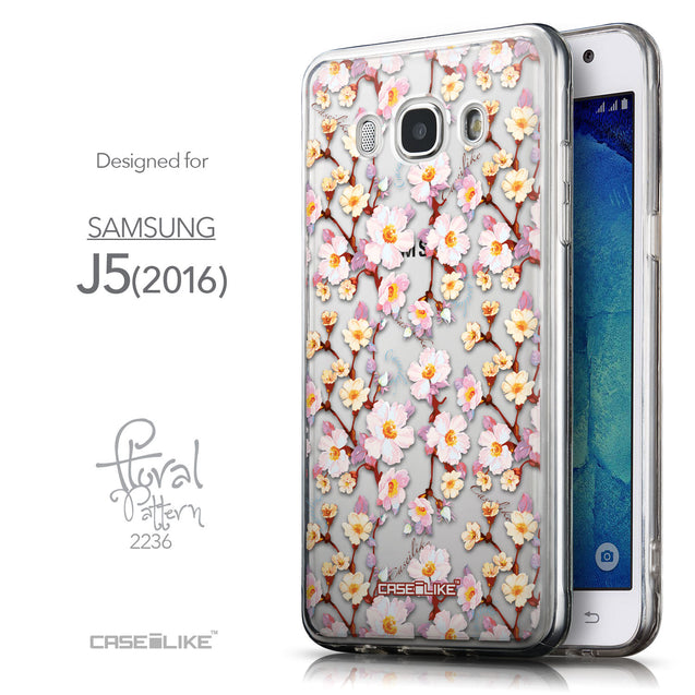Front & Side View - CASEiLIKE Samsung Galaxy J5 (2016) back cover Watercolor Floral 2236