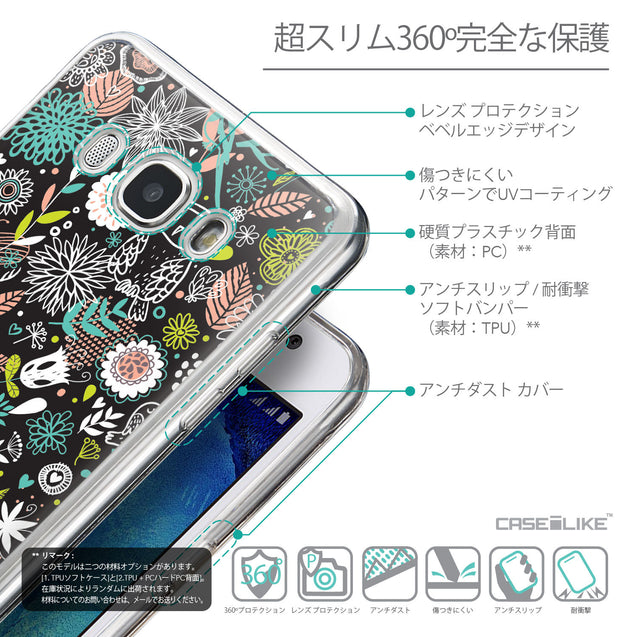 Details in Japanese - CASEiLIKE Samsung Galaxy J5 (2016) back cover Spring Forest Black 2244